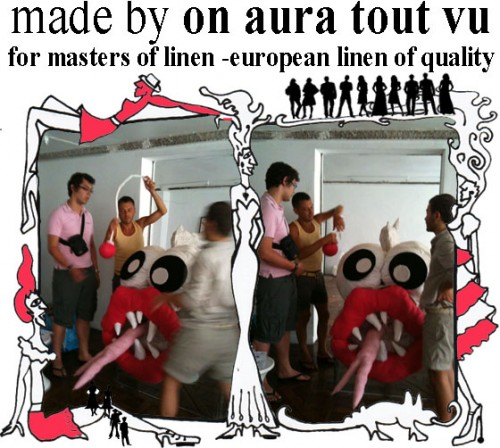 on aura tout vu staff working on the monster for masters of linen.jpg